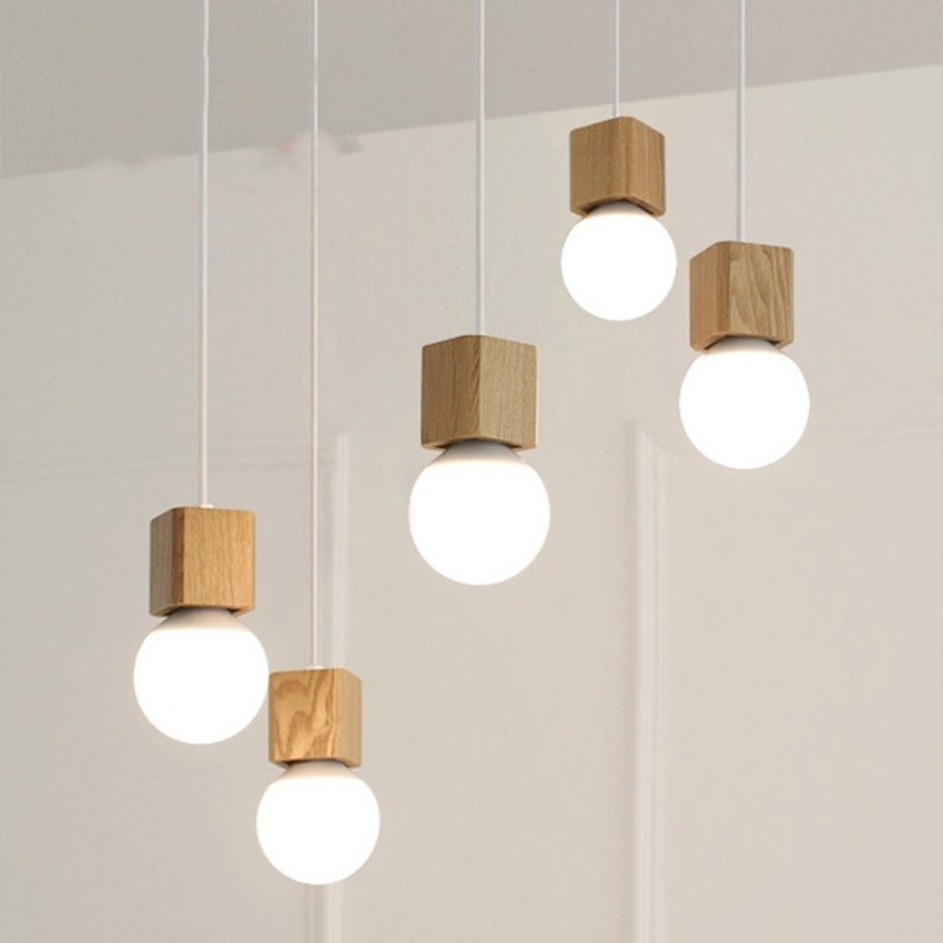 modern oak wood pendant lamp colorful cord square shape vintage chandelier lighting wooden lamp. Black Bedroom Furniture Sets. Home Design Ideas