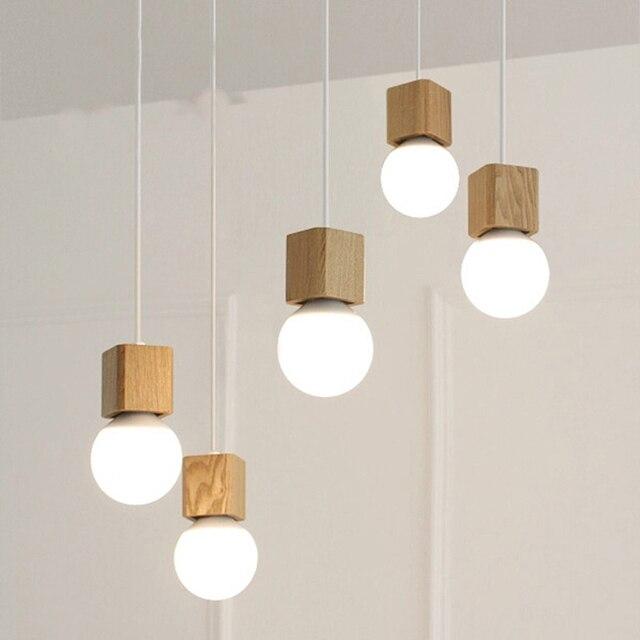 Modern Oak Wood Pendant Lamp Colorful Cord Square Shape Vintage Chandelier Lighting Wooden E27 Socket
