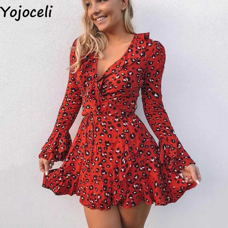 a25a3e7450 ... Yojoceli Elegant ruffle sexy red leopard dress female Autumn short  party dress women vestidos Daily casual ...
