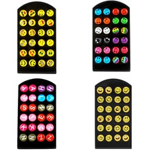 1set 24 PCS Face Emoji Expression Earrings Expression 36 Kinds Of Expressions Optional Fashion Earrings Accessories