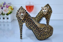 Golden leopard BaoTou round head high heels heel single crystal shoes wedding bride crystal club for women's shoes