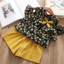 Menoea Girl Clothing Sets New Summer Fashion Kids Clothes Set Girls Letter Pattern Tops+Solid Shorts 3-7T Children Clothing цены онлайн