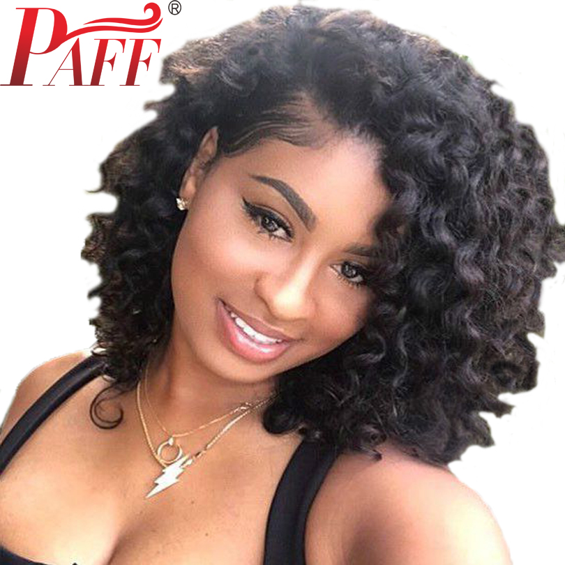 PAFF Short Lace Front Human Hair Wigs With Natural Baby Hair Peruvian Curly Lace Front Wigs For Women PrePlucked Bleached Knots