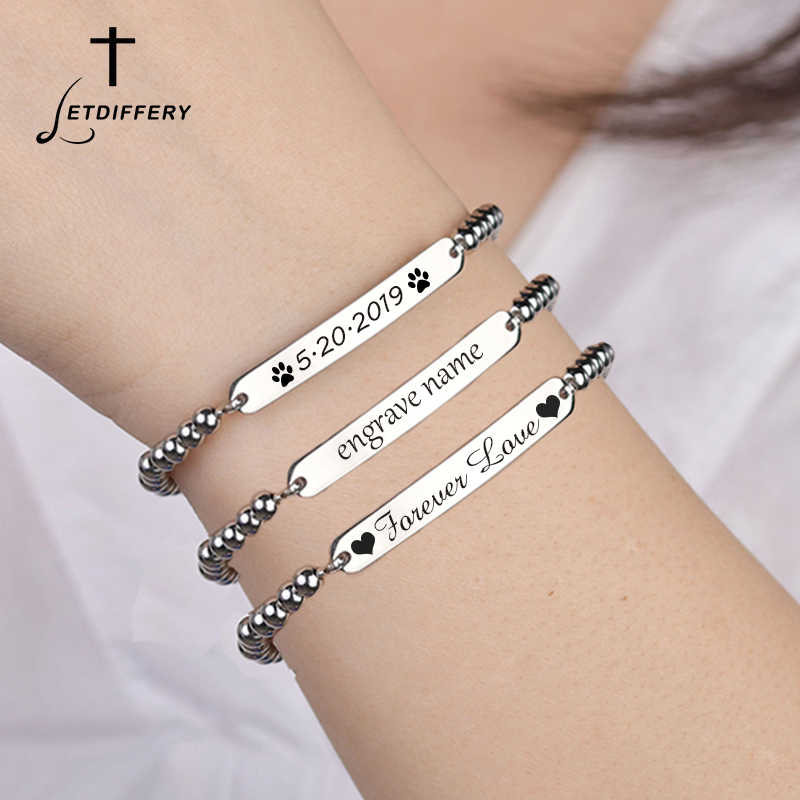 Letdiffery Customized Silver Beads Bracelets Never Fade Stainless Steel Laster Engraved Name ID Women Bracelets Birthday Gift