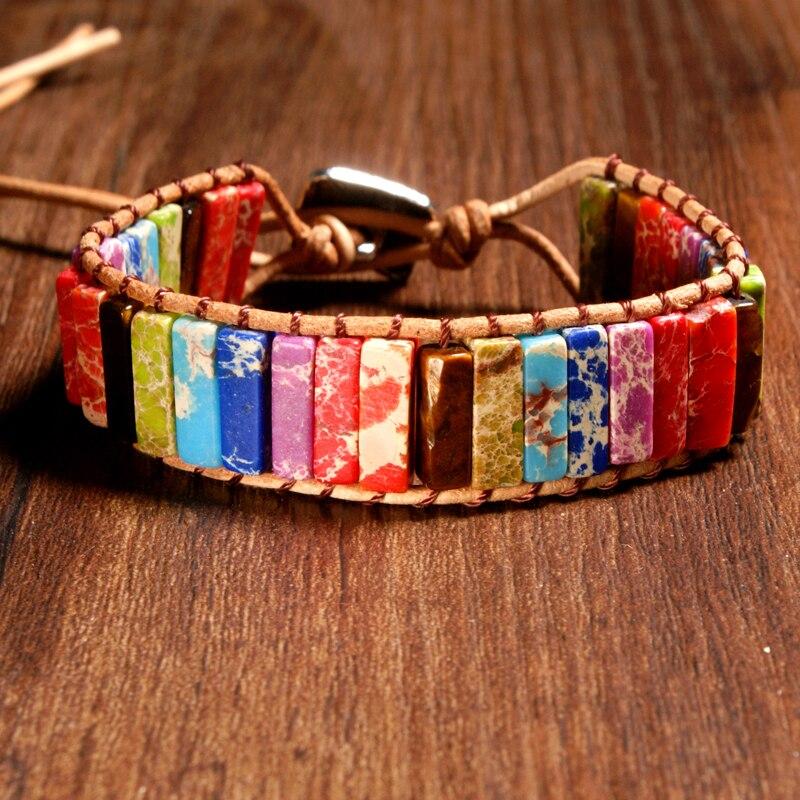 MOON GIRL Chakra Bracelet Jewelry Handmade Multi Color Natural Stone Tube Beads Leather Wrap Bracelet Couple Bracelets Dropship bracelet