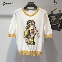 Runway Design Female T Shirt Knitted Summer Top 2018 New Fashion Cartoon Snow White Embroidery Sequins
