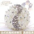 100% Brand New Diamond Wedding Flowers Beaded Ivory Bridal Bouquet Styles Accessories Polyethylene Roses buket bunga pernikahan