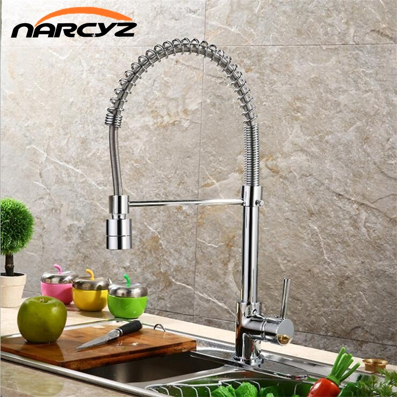 Kitchen Faucet Pull Out Swivel Spray Single Handle Brass Chrome Pull Down High Vessel Sink Mixer Taps Hot Cold Water XT-69 newly chrome brass water kitchen faucet swivel spout pull out vessel sink single handle deck mounted mixer tap mf 302
