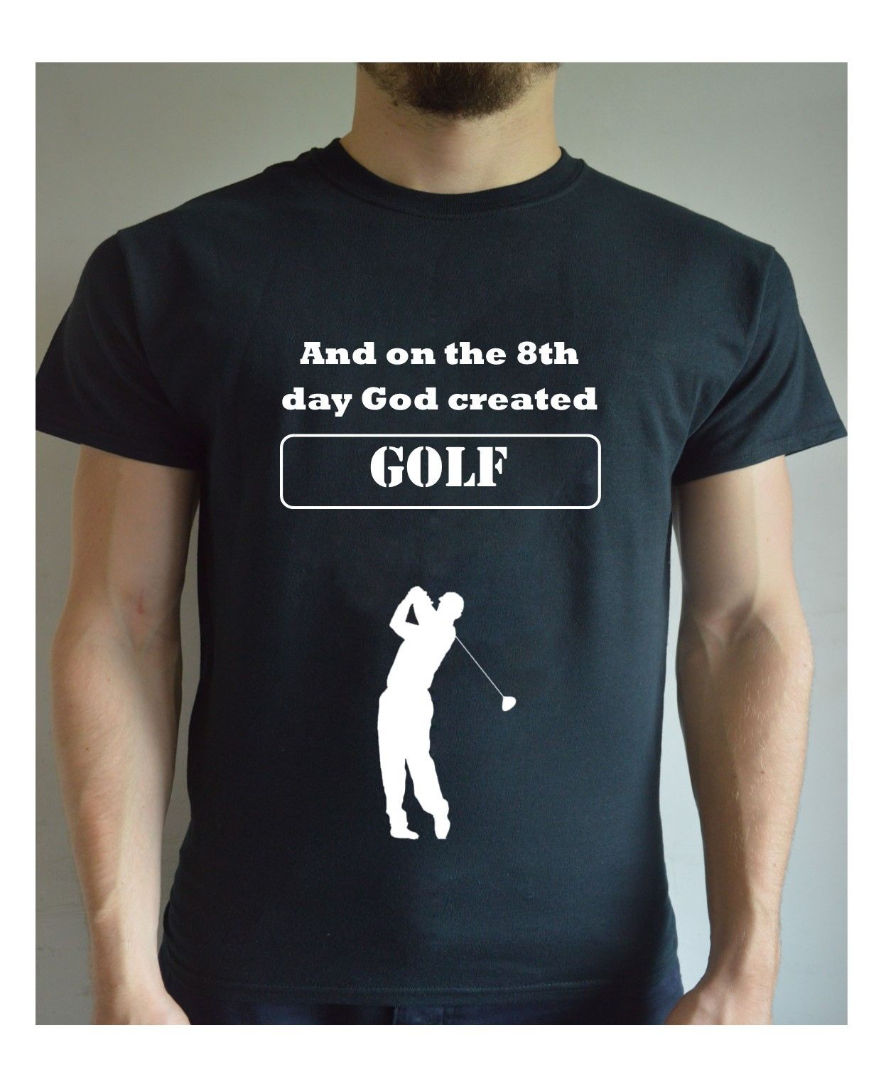 Normal Short Sleeve Cotton T Shirts And On The 8th Day God Created Golfed Printed T Shirt Funny Top Tee Christmas