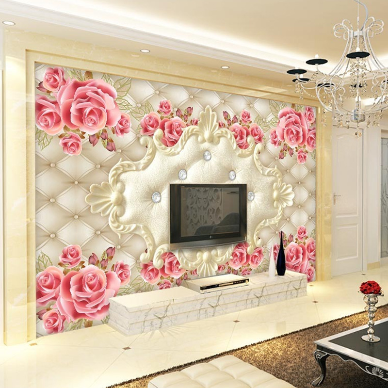 Luxury 3d wallpaper elegant photo wallpaper rose flower for Luxury 3d wallpaper