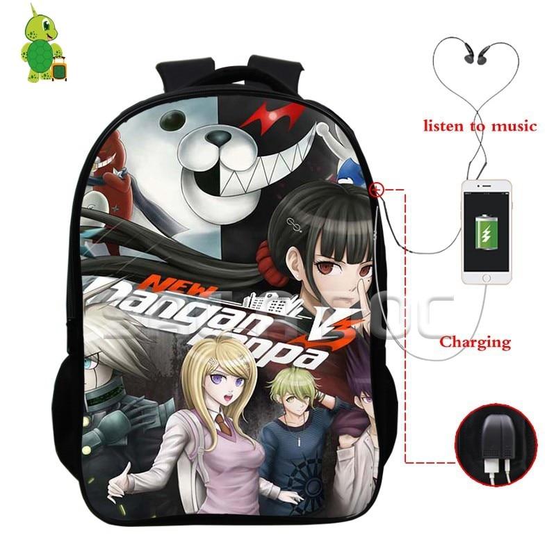 3f7e36311a Dropwow Anime Danganronpa Monokuma Backpacks Multifunction USB Charge  Headphone Jack School Backpack for Teenagers Daily Laptop Backpack