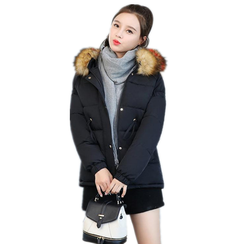 Long Sleeve Sweet2018Winter Women Down Cotton Jacket Female Hooded Large Fur Collar Winter Coats Female Loose   Parkas   MujerCQ2450