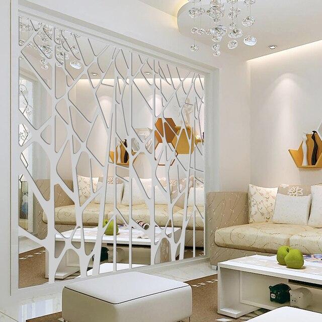 Diy Kreatif Pola Geometris Permukaan Cermin Stiker Dinding Untuk