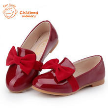 Baby girl shoes spring 2016 new solid bright leather Hoof Heels  Korean Baby  Girls Princess Shoes 26-36