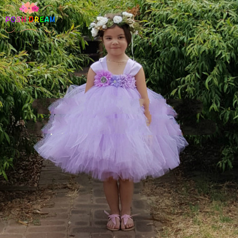 POSH DREAM Lilac Flower Girl Dress with Chiffon Rhinestone Flower ...