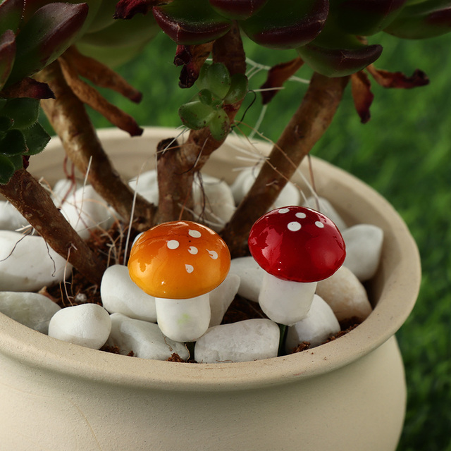 10/20pcs Miniature Artificial Foam Potted Plants Decor Mini Mushroom DIY Craft Home Garden Ornament Resin Crafts Moss Decoration 4