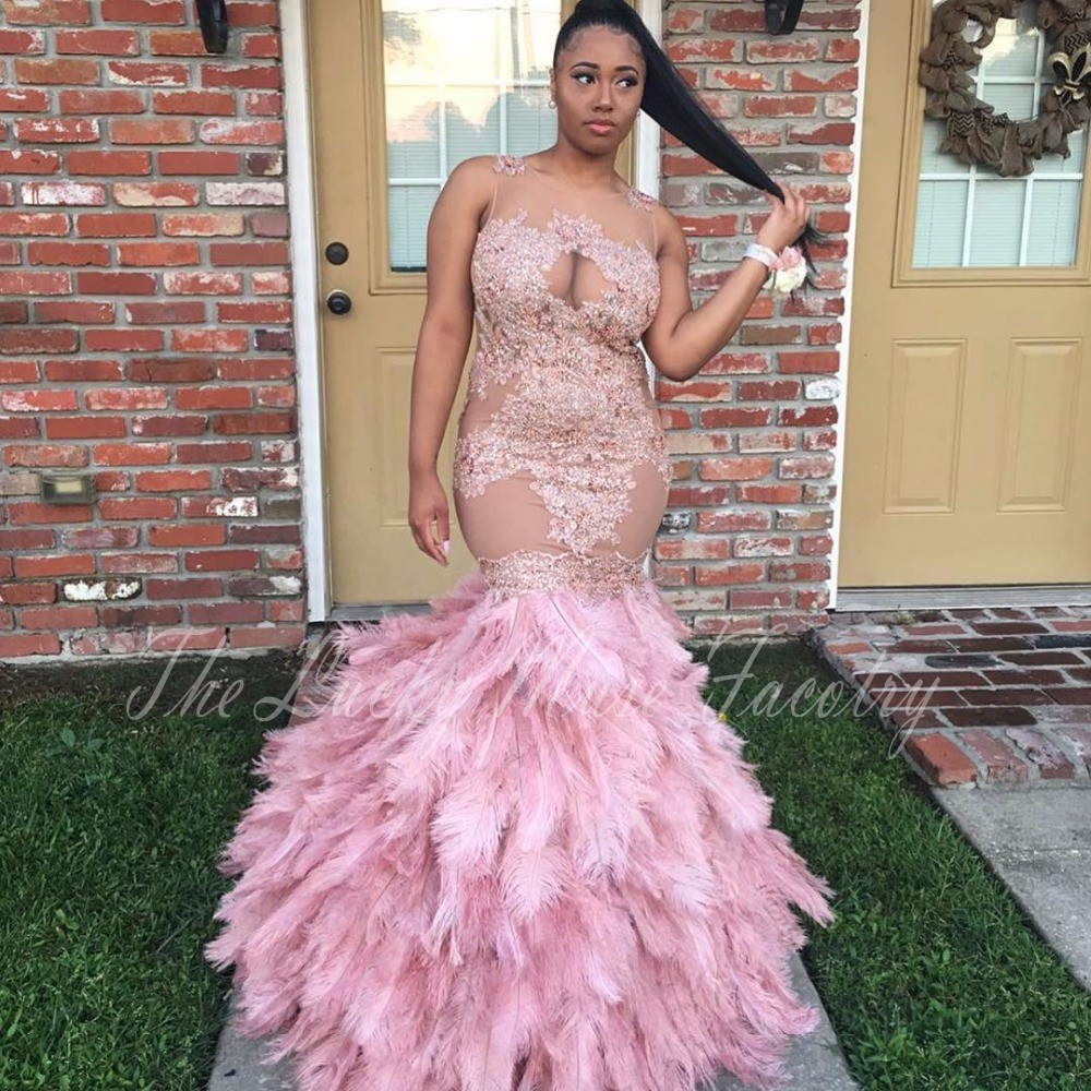 Pink Mermaid Prom Dresses For Black Girls 2017 Appliques Lace See ...