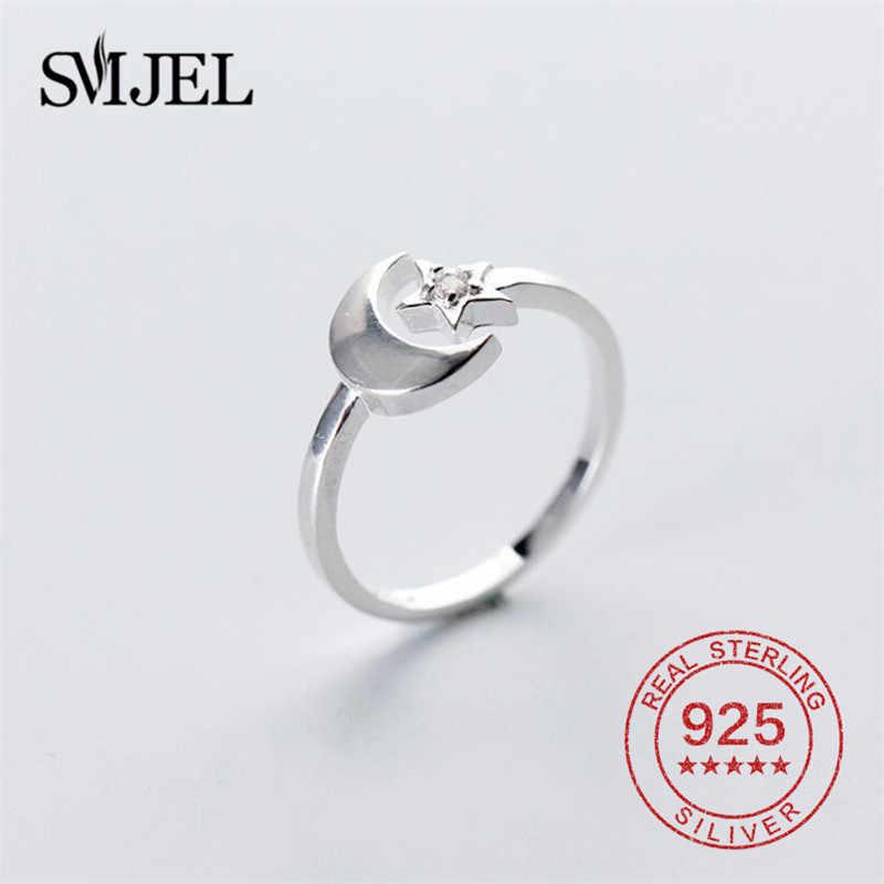SMJEL, женские кольца с кристаллами, цирконием, луной, звездой, Женские Ювелирные изделия из стерлингового серебра 925 пробы, открытые кольца, повседневные кольца, подарки на день рождения