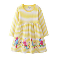 Jumping Meters Applique Princess Dresses Baby Girls Long Sleeve Clothes Cotton Party Wear Stripe Children Costume Tutu Dress