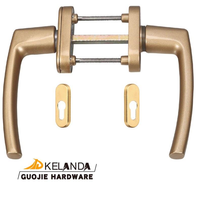 Black / White / Gold / Grey PVC Sliding Balcony Door Handles With Oval Euro Lock Cover Plate Patio Door Hardware Parts KELANDA