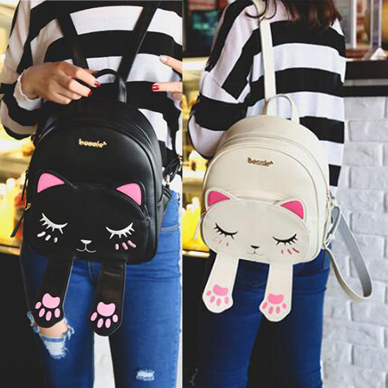 Cute Cat Backpack School Women Pu Leather Backpacks For Teenage Girls Funny Cats Ears Canvas Shoulder Bags Female Mochila Xa531b #3