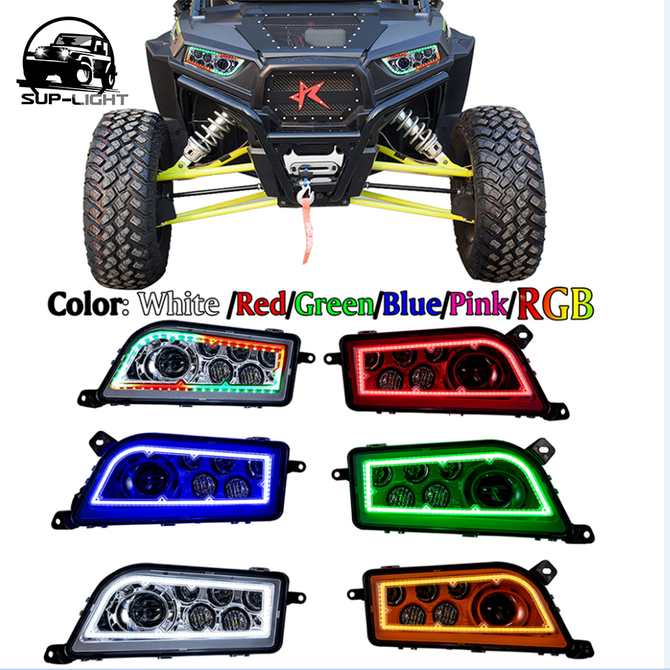 Pair Red H4 Led Headlight Headlamp Kit For 2017 Polaris Rzr Xp 1000 Turbo Rgb Halo Ring Multi Colors In Car Bulbs From Automobiles