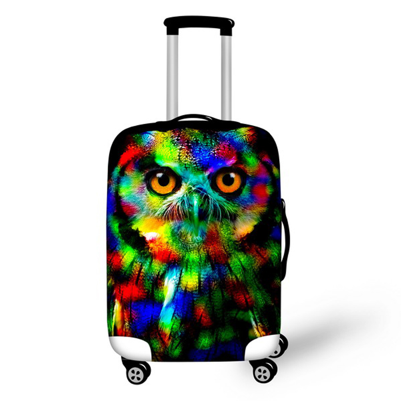 Waterproof Neon Owl Travel Luggage Cover Elastic Stretch 18/20/22/24/26/28inch Animal Protective Dust Suitcase Cover