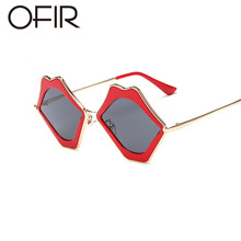 OFIR 2018 Fashion Personality Sunglasses Lips Frame Women Metal Sun Glasses  Sexy Designer Red Lips Lady Preference Eyewear