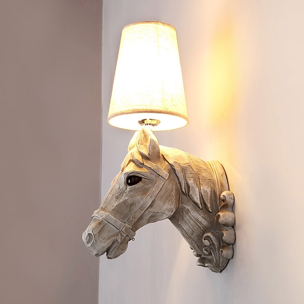 Modern wall lamps Resin horse head Creative wall Sconce Lighting Bedroom Study Room Light Fixture Child Bedside Lamp