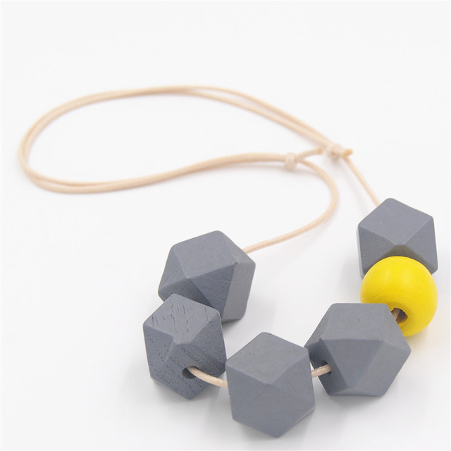 1PC Geometric Wood Necklace Chunky Ball Faceted Colorful Wooden Beads Adjustable Cord Choker Bijoux
