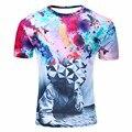 Nuevo Verano 2016 Moda Pensador Impresión Abstracta Camiseta Unisex Ocasionales Respirables 3d T Shirt Para Hombres/Mujeres Harajuku Tee camisa