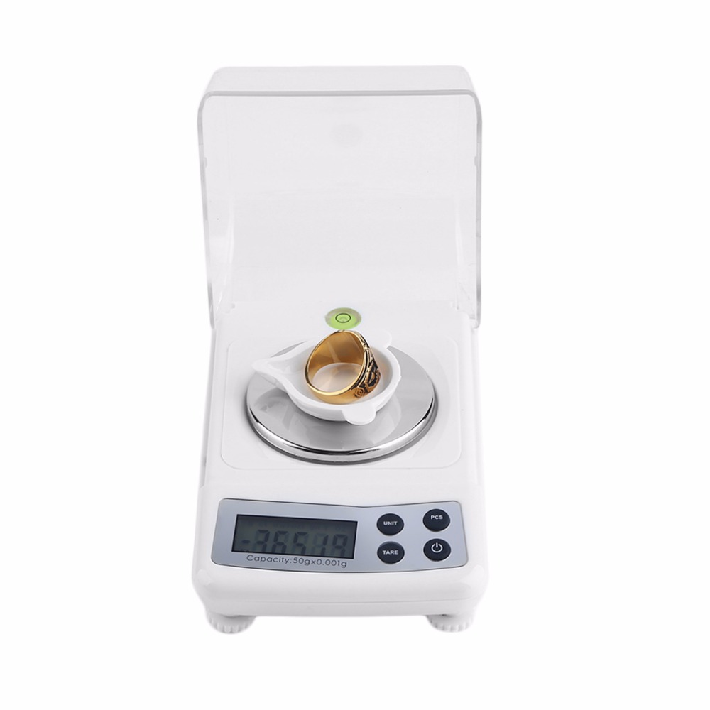OUTAD Bench Scale 50g 0.001g High Precision Jewelry Diamond Gem Carat Digital Electronic Scales Counting Function Portable