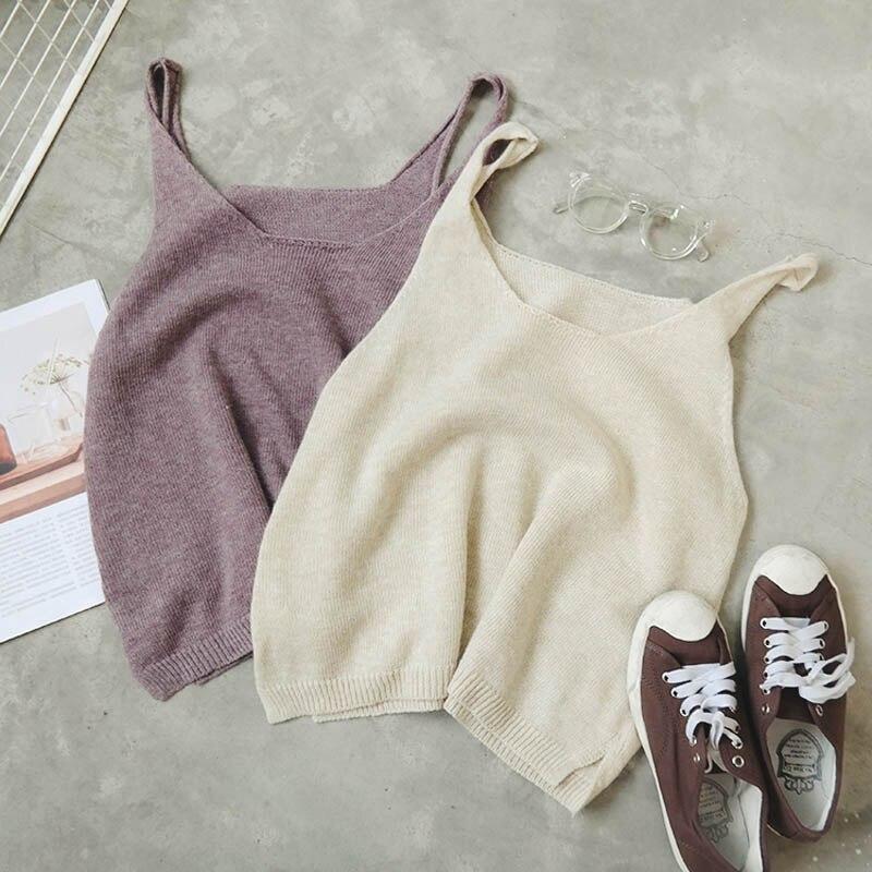 Spring Fashion Korean Ladies Casual Knitting Sleeveless Tshirts Sexy