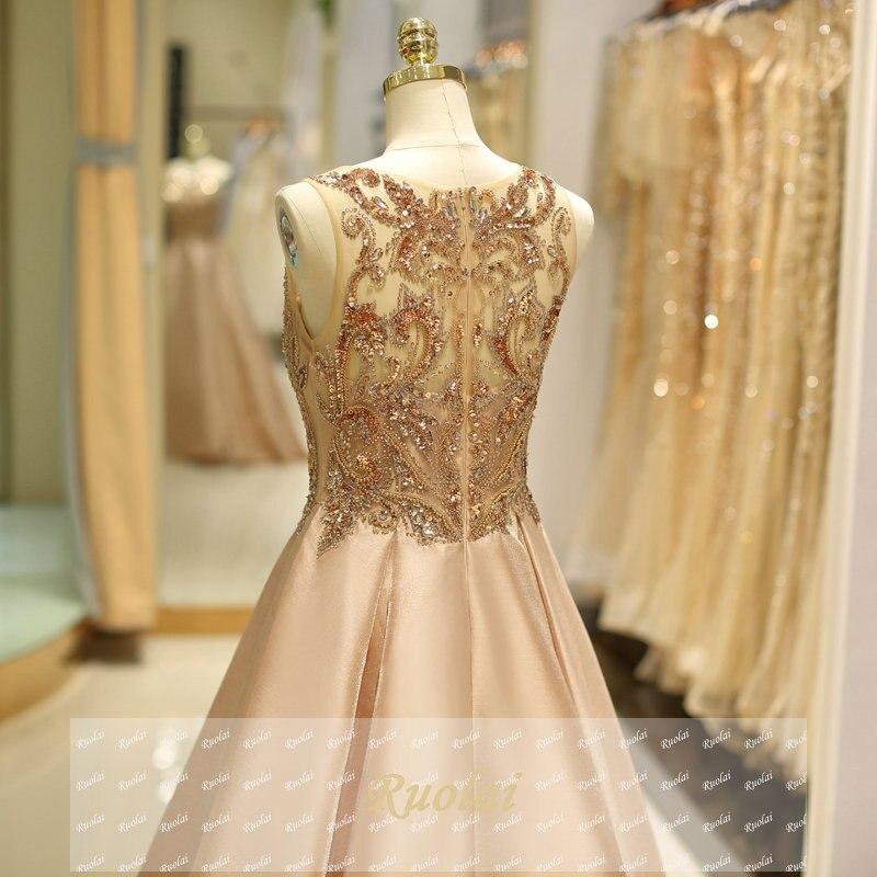 Robes de soirée de luxe 2018 longues perles lourdes robe de soirée en Satin sans manches robes de soirée formelles robe de soirée - 6