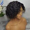 Доступное Полные Парики Шнурка Для Чернокожих Женщин Короткие Человека Вьющиеся кружева Передние Парики Вьющиеся Боб Бразильский Человеческих Волос Full Lace парик