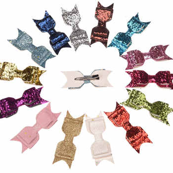 120pcs Bling Bling Powder Bow forked tail Bowknots Sequin Bow Vintage Hair Accessories Fashion Barrette Cute Hair clips