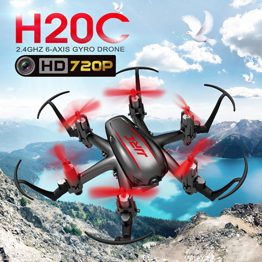 JJRC H20C Mini RC Drone 2.4G 6 Axis Gyro 4CH 2.0MP Camera RC Quadcopter Headless Mode 3D Eversion LED Lights RC Helicopters
