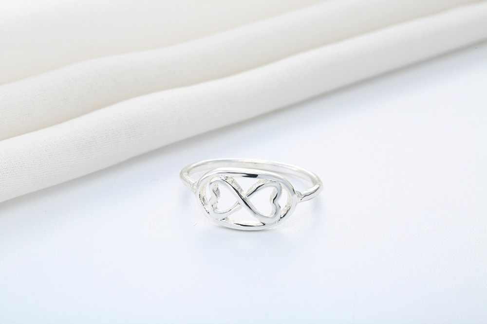 Kinitial החדש אינסופי 8 בצורת קשר טבעות ידידות אינפיניטי טבעת חמוד גיאומטרי 8 שמונה טבעות הטוב ביותר כמתנה כפול לב