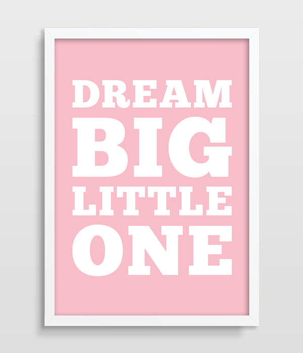 Dream Little One Nursery Poster Typographic Print With Quote Kids Room