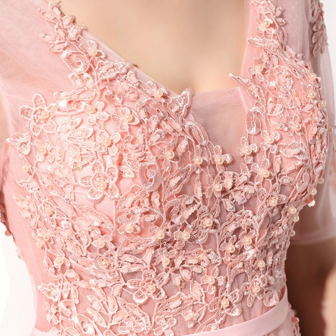 SSYFashion Lace Evening Dress The Bride Banquet Sexy V-neck Half Sleeves Embroidery Long Party Prom Dress Robe De Soiree Custom Multan