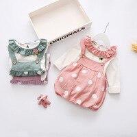 Yeni Sonbahar Bebek Kız Giysileri Seti Çocuklar Bebek Kız Çiçek T gömlek Üst + Askı Tutu Dot Elbise Kıyafetleri Ayarlamak Bahar Elbise 0-2Years