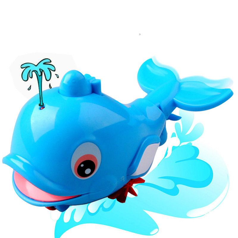Pull spring water dolphins playing in the water baby bath toy baby child amphibious BB bath