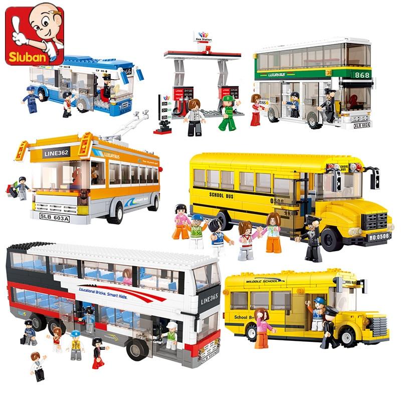 Sluban City Engineering School Bus Autobus Car Truck Ambulance Hospital 3D Model DIY Building Blocks Toy For Children No Box
