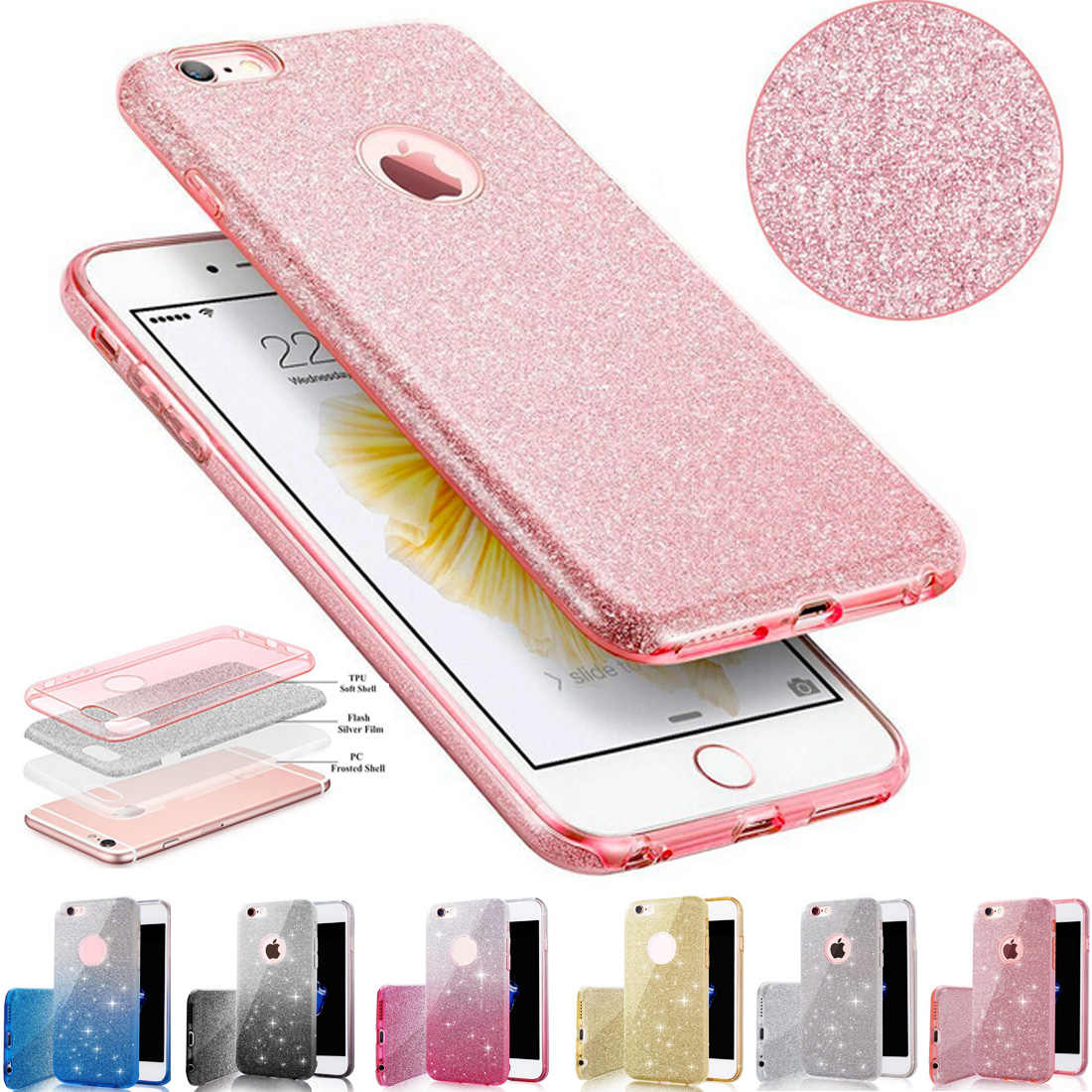 For iPhone 7 TPU Case Clear Crystal Bling Shining Girls Women Sparkle 3  Layer Phone Cases 3d222bc26f