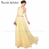Beacdhing Spaghetti Strap Evening Dresses Yellow Chiffon 2016 Hot Sale Pleated Chiffon Prom Gowns Sweetheart Vestidos
