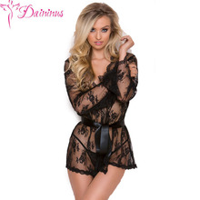 Daininus Sexy Lingerie Hot Erotic Women Perspective Lace Robe Chemise + Thongs Underwear Costumes