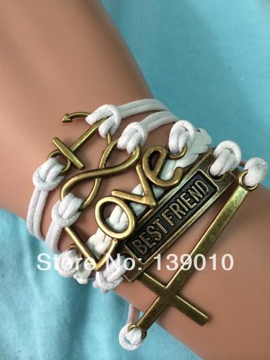 nueva moda mujeres hombres pulsera cruz amor infinito anchor mejor amigo joyera del encanto blanco cuerda