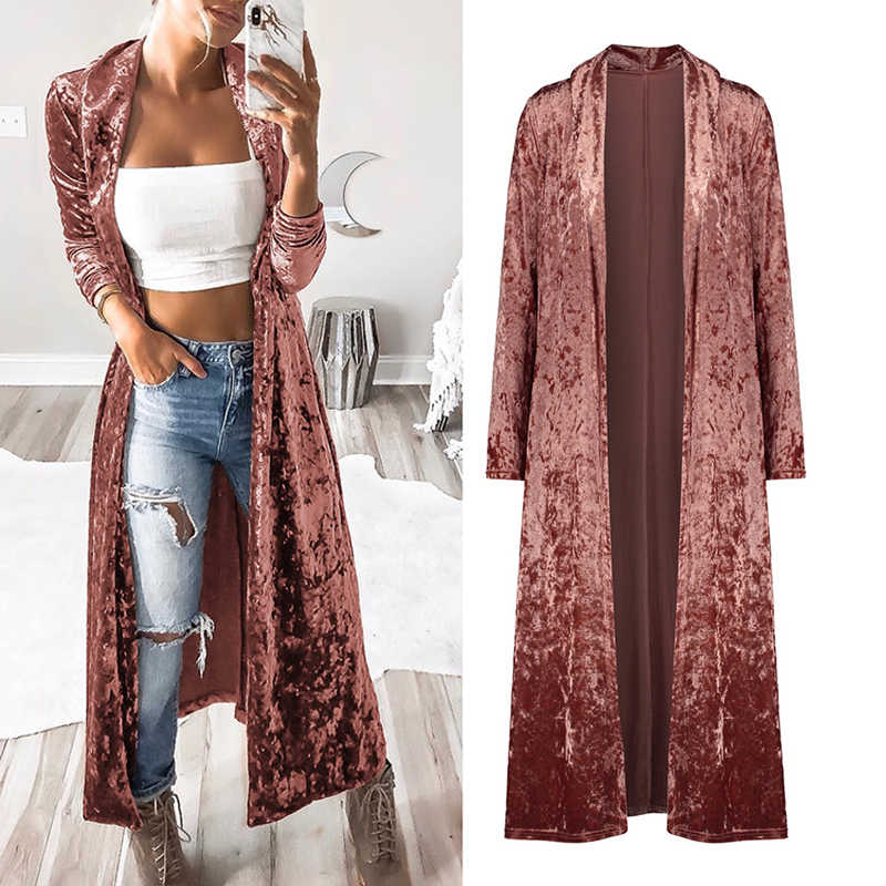 Naiveroo Women Autumn Coats Long Sleeve Solid Straight Long Coat Velvet Cardigan Casual Slim Jacket Outerwear Plus Size