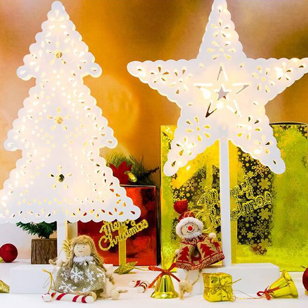 Spruce Home Decor Gift Store: Wooden Hollow Christmas Tree Decoration Star Office Home