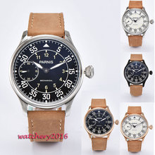 Hot 44mm parnis white Black dial Leather strap Luminous Mark 17 jewels 6497 movement Hand Wind Mechanical Men's business Watch цена 2017